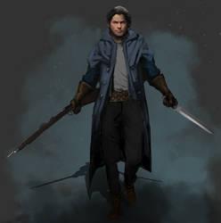 Eli, a human warrior by Pimney