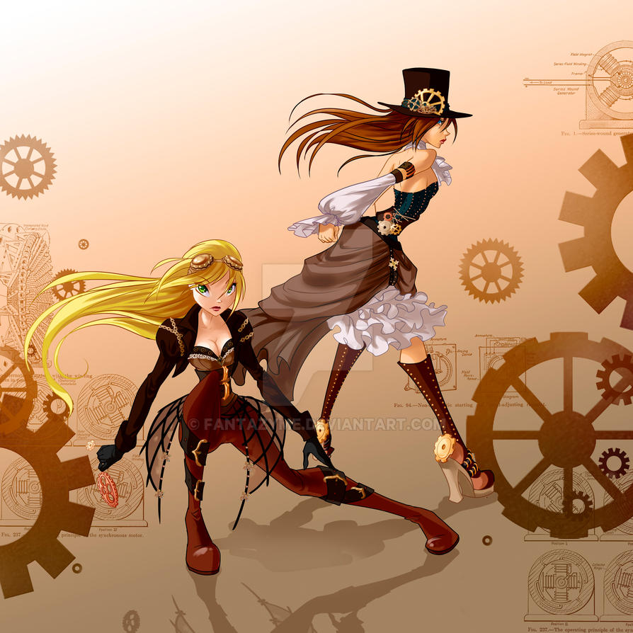 Amanda and Nesti steampunk by fantazyme