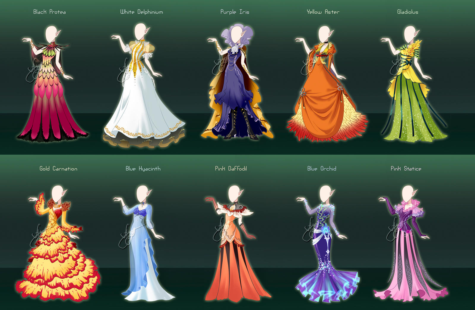 Commission : Flower Themed Royal Gowns By Fantazyme On
