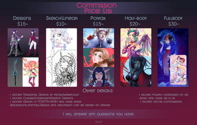 Commission price list 2019 by fantazyme