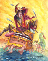 Rincewind and Luggage on the run by puggdogg