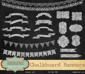 Chalkboard Banners PNG Clipart