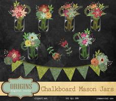 Chalkboard Mason Jars Clipart PNG by DigitalCurio