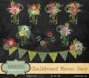 Chalkboard Mason Jars Clipart PNG by DigitalCurio