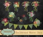 Chalkboard Mason Jars Clipart PNG