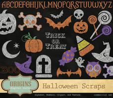 Halloween Chalkboard Clipart and Digital Scrapbook by DigitalCurio