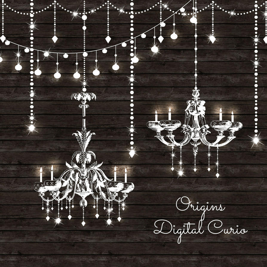Chandeliers And String Lights Vector Clipart By DigitalCurio