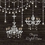 Chandeliers and String Lights Vector Clipart