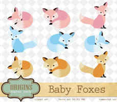 Baby Foxes PNG and Vector Clipart by DigitalCurio