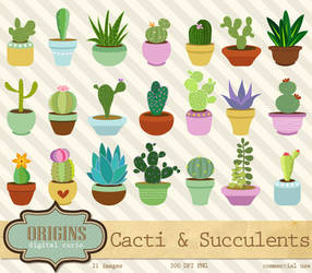 Cactus and Succulents Vector Clipart by DigitalCurio