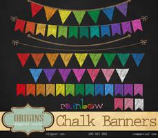 Rainbow Chalkboard Bunting Banners by DigitalCurio