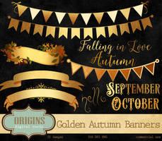 Golden Autumn Banners Clipart by DigitalCurio