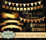 Golden Autumn Banners Clipart