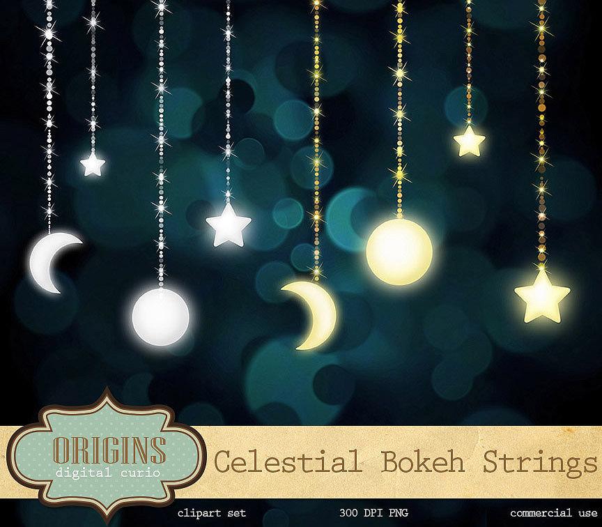 Celestial Bokeh Strings Clipart By DigitalCurio