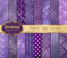 Purple and Silver Digital Paper