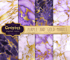 Purple and Gold Marble Digital Paper Textures by DigitalCurio