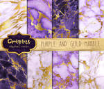 Purple and Gold Marble Digital Paper Textures