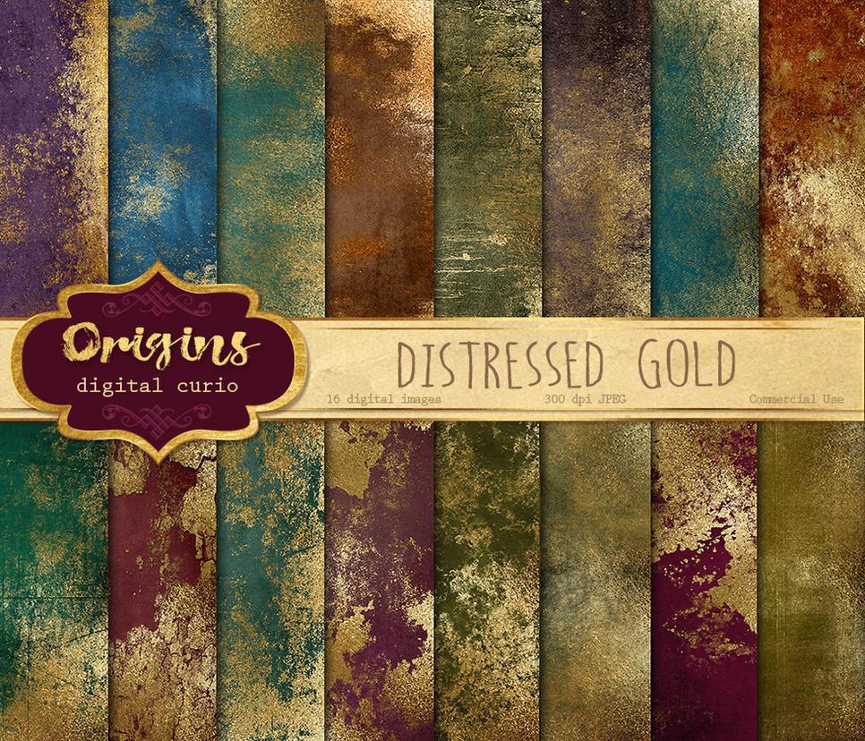 Distressed Gold Texture Pack by OriginsDigitalCurio