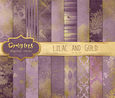 Lilac and Gold Digital Paper by DigitalCurio