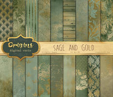 Sage and Gold Textures Digital Paper by DigitalCurio