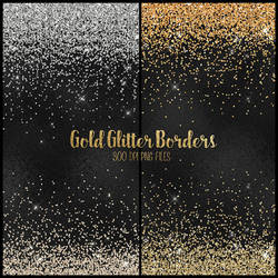 Gold Glitter PNG Borders by DigitalCurio