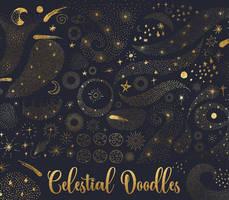 Celestial doodles clipart by DigitalCurio