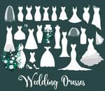 White Wedding Dresses Vector Clipart