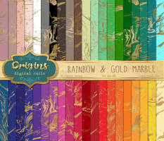 Rainbow and Gold Marble Digital Paper by DigitalCurio