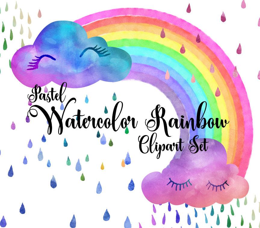 Pastel Watercolor Rainbow Clip Art By Originsdigitalcurio