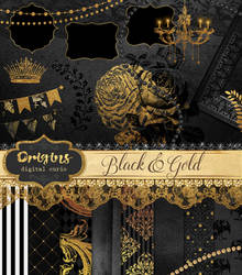 Black and Gold Digital Scrapbooking Kit