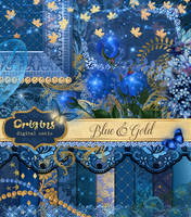 Blue and Gold Digital Scrapbook Kit by DigitalCurio