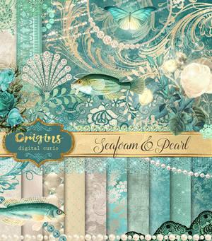 Seafoam and Pearl Digital Scrapbooking Kit