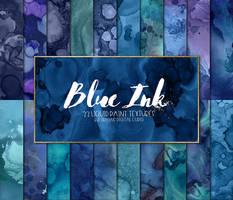 Blue Ink Liquid Paint Textures - Digital Paper by DigitalCurio