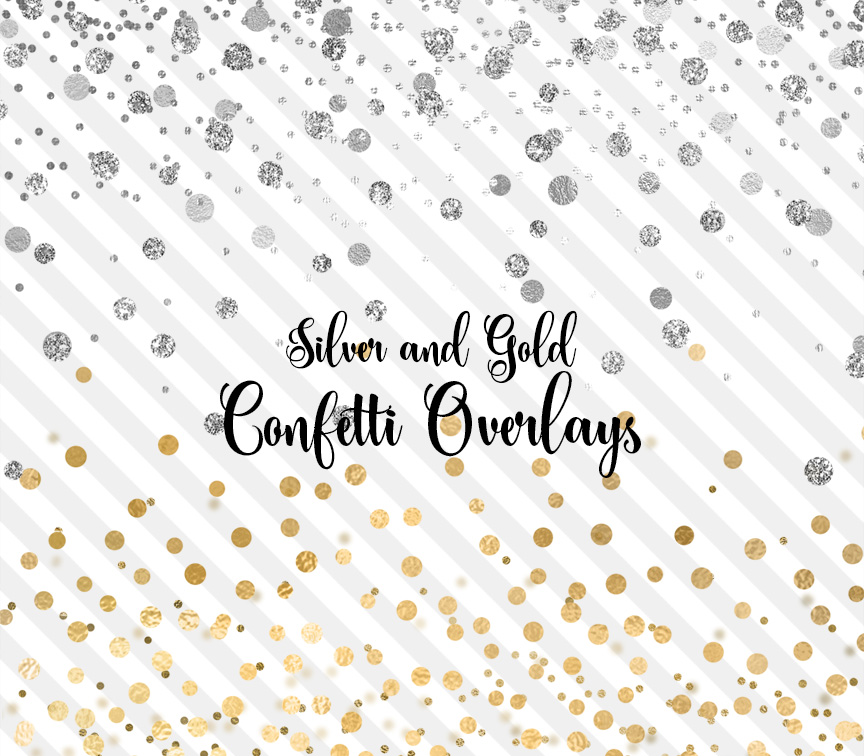 Silver and Gold Confetti PNG Overlays Clipart by