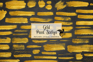 Gold Paint Strokes Clipart by DigitalCurio