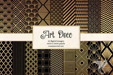 Art Deco Digital Paper by DigitalCurio