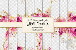 5x7 Pink And Gold Floral Overlays