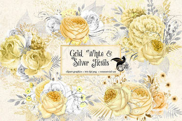 Gold, white and silver floral clipart by DigitalCurio