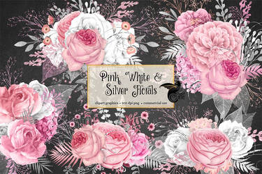 Pink, white and silver floral clipart by DigitalCurio
