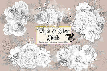 White and Silver Floral Clipart by DigitalCurio