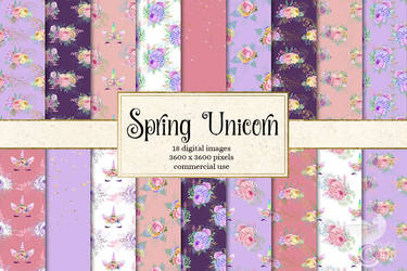 Spring Unicorn Digital Paper by DigitalCurio