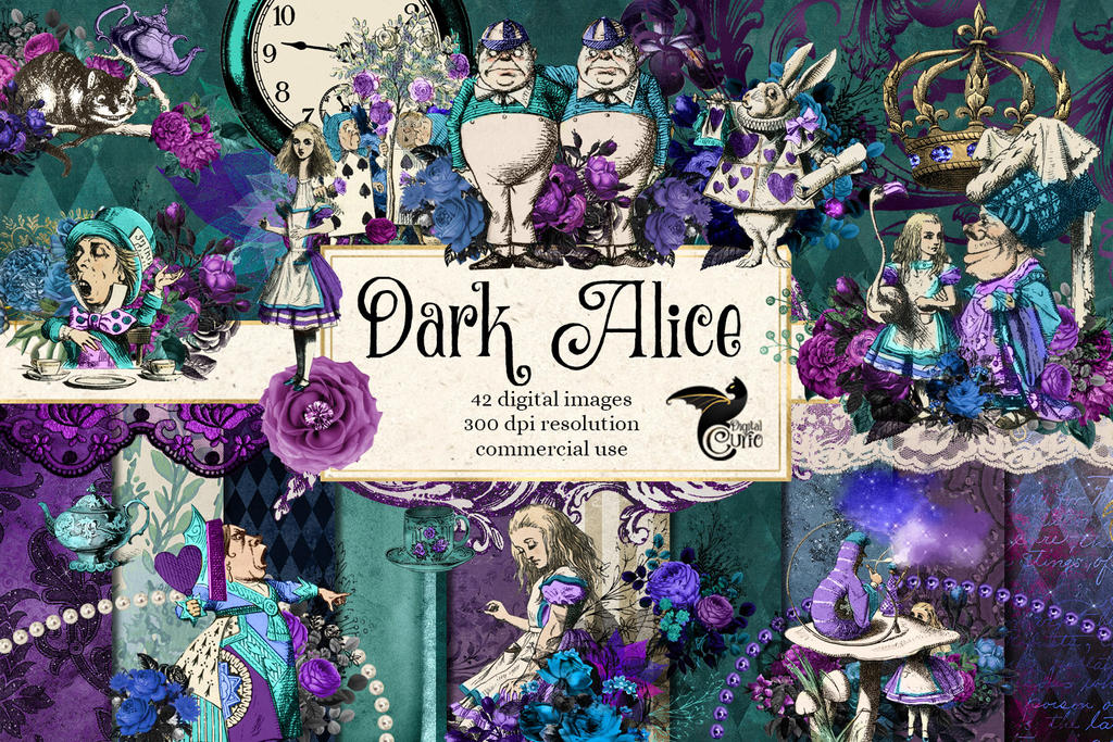 Dark Alice Digital Scrapbooking Kit by DigitalCurio