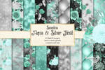 Aqua And Silver Floral Digital Paper