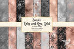 Gray And Rose Gold Damask