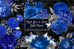 Royal Blue And Silver Floral Clipart