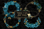 Turquoise And Gold Floral Wreaths