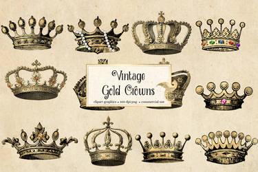 Vintage Gold Crowns Clipart