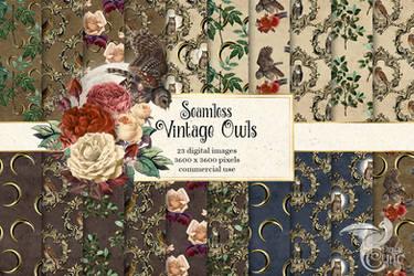 Vintage Owls Digital Paper