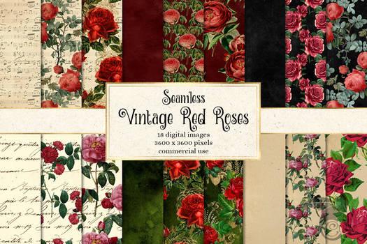 Vintage Red Rose Digital Paper