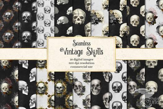 Vintage Skulls Digital Paper